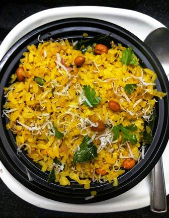 poha topped with coconut